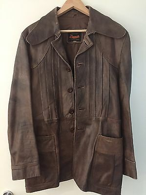 Vintage Leather Coat Wide Collar Size 44 Chocolate Brown