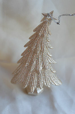 Silver Glittered Christmas Tree Ornament new