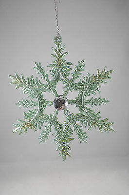 Winter Glittered Snowflake with Jewel Christmas Tree Ornament new holiday