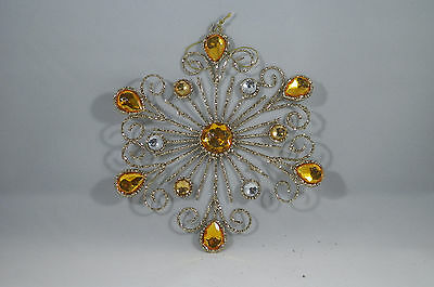 Gold Wire Beaded Glitter Snowflake Christmas Tree Ornament new holiday