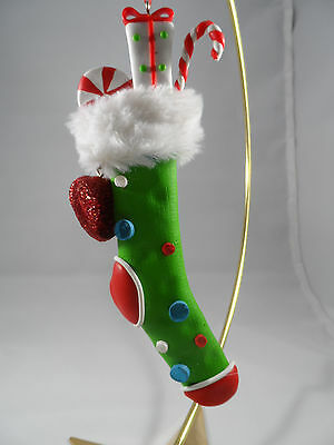 Green Polka Dotted with Candy Canes and Present Stocking Christmas Ornament new