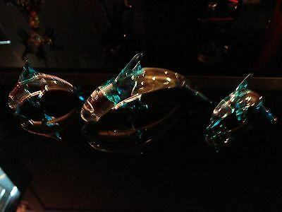3 Set Blue Clear Dolphins Figurine of Blown Glass Crystal