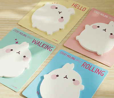 Molang Sticky Note 4 Color Set Post-it Memo Pad Bookmark Index Cute Point Marker