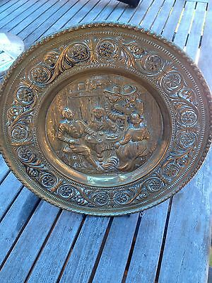 Antique Hand Crafted Brass Plate With Stand