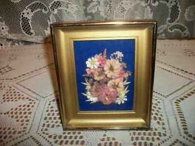 Vintage Chic Shadow Box Framed Dried Flowers Picture Shabby Paris Apt