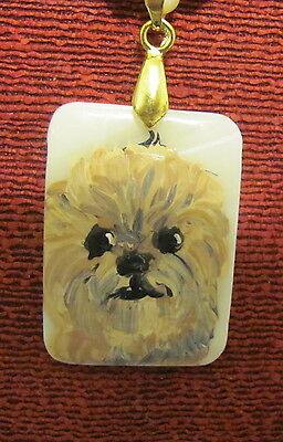 Affenpinscher hand painted on Mother of Pearl rectangular pendant/bead/necklace