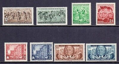 East Germany. 8 LH Mint stamps issued 1954/56. Catalogue £14