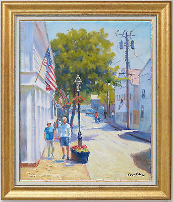 Street In Martha's Vineyard~Listed Artist~Original Oil Painting Marc Forestier