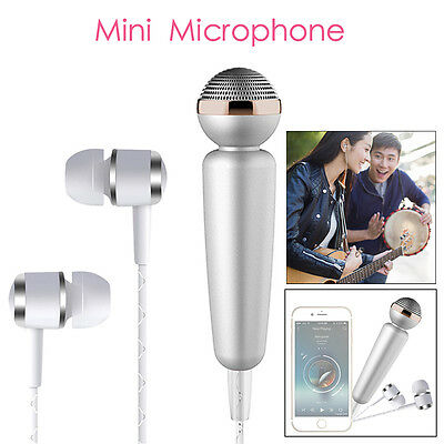 Mini Portable Microphone Karaoke With Headphone Silver For HTC Smartphone Tablet