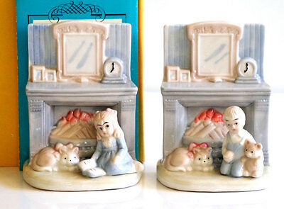Pair Figural Ceramic Bookends German Children By Fireplace Traditional Home Vtg