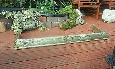 Antique Victorian  Brass Fire Fender Kerb With Decorative Corners And Centre