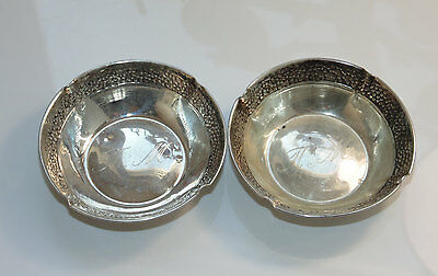 Vintage Lot 2 pc SET Candy Nuts Dishes Salt Plate Decorative Sterling Silver 925