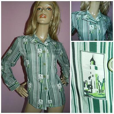 70s GREEN NOVELTY CITYSCAPE STRIPED WIDE COLLAR BLOUSE SHIRT 12-14 1970s KITSCH