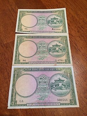 Lot Of 3 Pcs South Vietnam 1 Dong 1956 Circulated Ef Condition