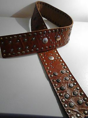 Vintage Style Wide Tan Leather Belt With King George V1 Medallions Re-enactment