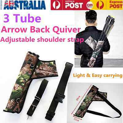 Outdoor Shoulder Archery Arrow Back Quiver Holder Case 3 Tube With Strap