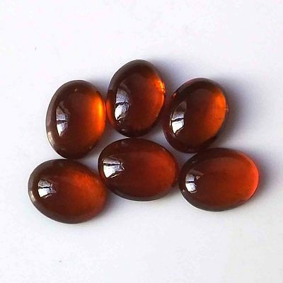 9X7 MM Oval 100%  Natural Unheated Hessonite Garnet Cabs 6 Pieces Gemstone Lot