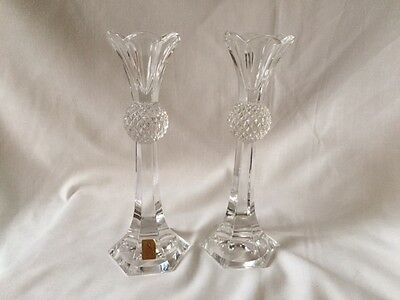 Vintage Pair of Nachtmann Bleikristall Candle Sticks German Lead Crystal