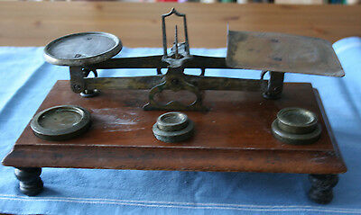 Vintage Post Office Brass Scales On A Wooden Base With Weights