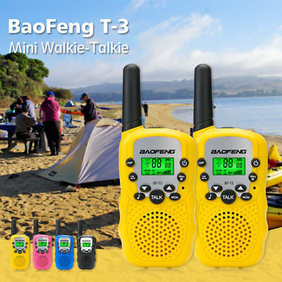 2x Baofeng T-3 Walkie Talkie CTCSS VOX LED FRS GMRS +Waterproof Case +Hand Strap