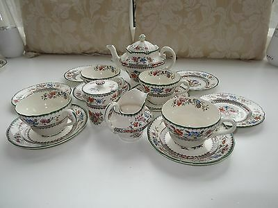 Copeland Spode Chinese Rose Four Piece Teaset (15 Pieces). Old markings
