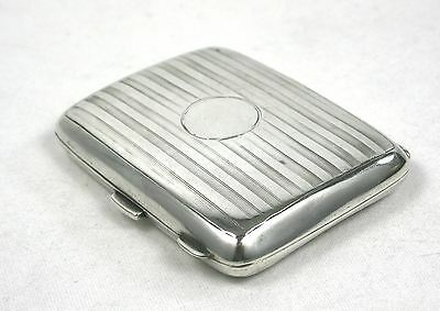 Antique Sterling Silver Cigarette Case Engine Turned Cushioned Birmingham 1912