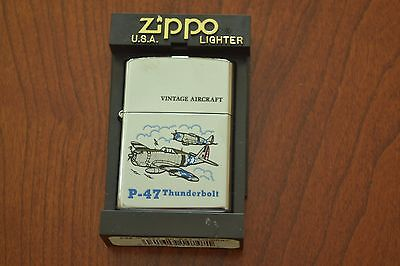 ZIPPO Lighter, Vintage Aircraft, P-47 Thunderbird, Polished Chrome, Sealed, M484