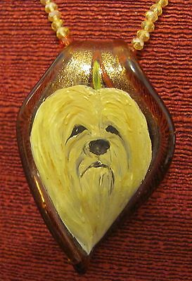 Lhasa Apso hand painted on Murano glass leaf pendant/bead/necklace