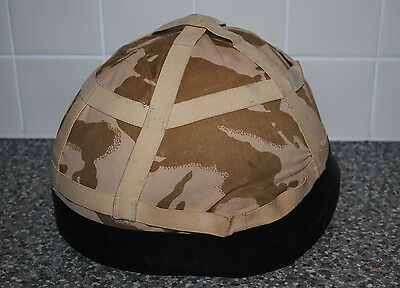 British Army GS MK6 Kevlar Combat Helmet + Desert Cover & Rubber Band - Used