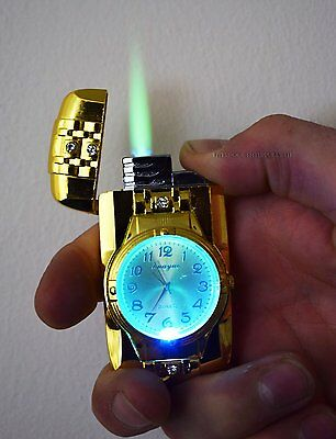 New Design Jet Lighter With Light & Working Clock Refillable Gas Lighter Stylish
