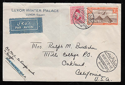 Egypt  1937 Air Mail Used Cover From Shepheards Hotel P.o. To Oakland