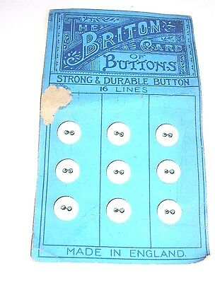 A GROUP OF 9 VINTAGE  PRE  1900s ? COVERED WASHABLE  BUTTONS 1 cm ON CARD  JP20A