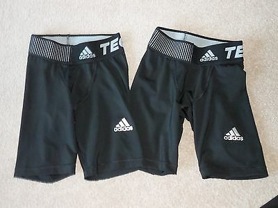 Adidas Football/Rugby Techfit Base Black Shorts x 2 - Age 7-8