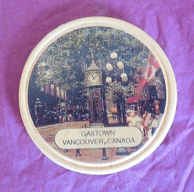 Collectable Wooden Fridge Magnet Gastown Vancouver Canada - Steam Powered Clock
