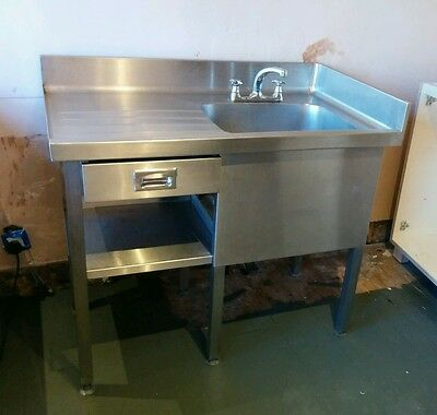 1.1m Single Stainless Steel Commercial Catering Industrial Sink w. Taps & Draw