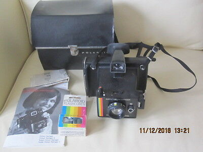 Vintage Poloroid Super Colour Land Camera With Case And Instructions Book