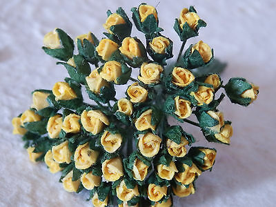 50 miniature ROSEBUDS 3mm APRICOT:: CARD Doll House TEDDYBEAR Decorations