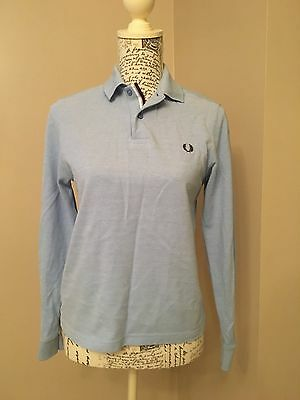 Fred Perry Polo Shirt Top with long sleeves Med Boys