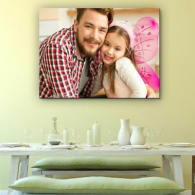 "Personalised YOUR PHOTO CANVAS Print Custom 30x20"" (76x50) 18mm Framed Wall Hang"