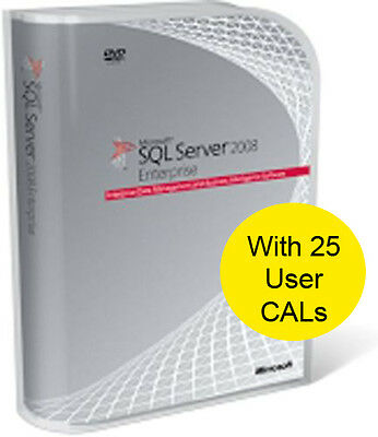SQL Server 2008 R2 Enterprise, 64/32 Bit. With 25 CALs. New and Shrink Wrapped.