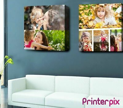 """Personalised SQUARE COLLAGE Photo Canvas Print 12x12"""" (30x30cm) Custom Gift Wall"""