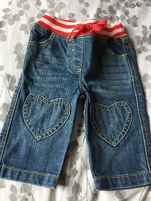 Baby Girls Baby Boden Jeans, With Hearts, Red And Pink Waist Band Faded Blue.