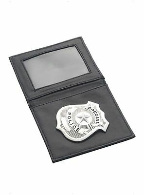 Adults Silver Special Police Badge in Black Wallet WPC Fancy Dress Accessory