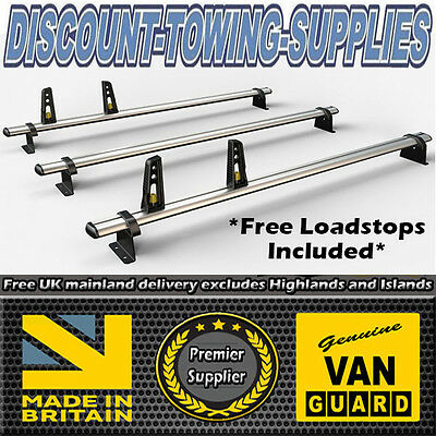 Van-Guard 3 x ULTI Roof Bars Ford Transit Courier H1L1 Twin Doors 2014> VG313-3