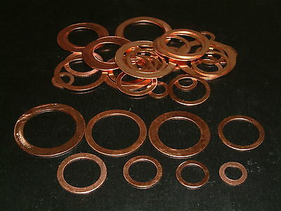"40 Assorted Imperial Copper Washers 1/8""BSP to 1""BSP"