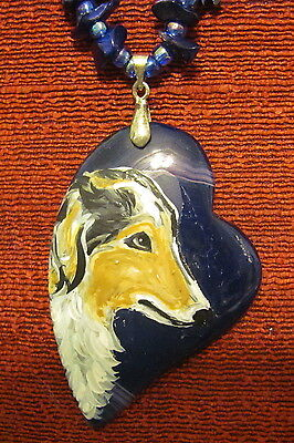 Borzoi hand painted on off-set, heart shaped Onyx Agate pendant/bead/necklace