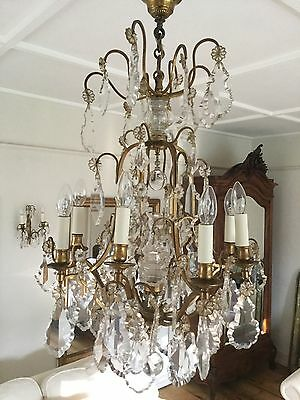 Large Antique French Crystal And Brass Chandelier Ceiling Light - 8 Arms