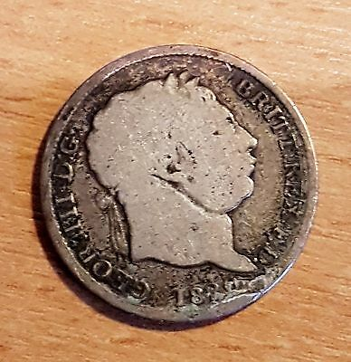 King George III 3rd silver shilling coin 1820