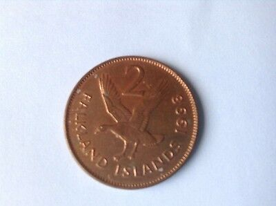 Falkland Islands 2p coin 1998.circulated