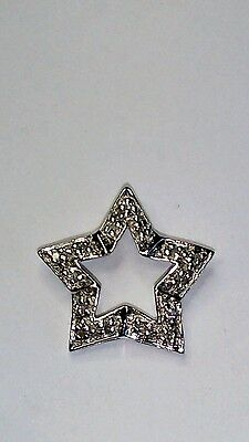 14Ct White Gold Pave Diamond Set Star Pendant For Chain Necklace